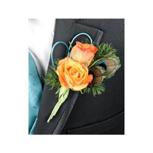 "Boutonniere - ""Peekaboo Peacock"" Rose"