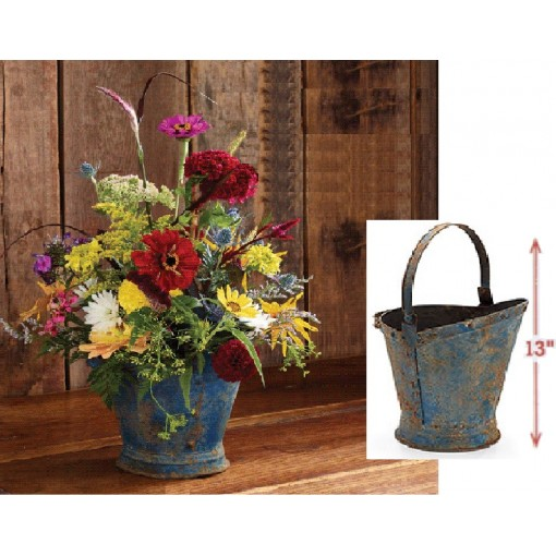 Blue Coal Bucket of Summer Rouge Bouquet