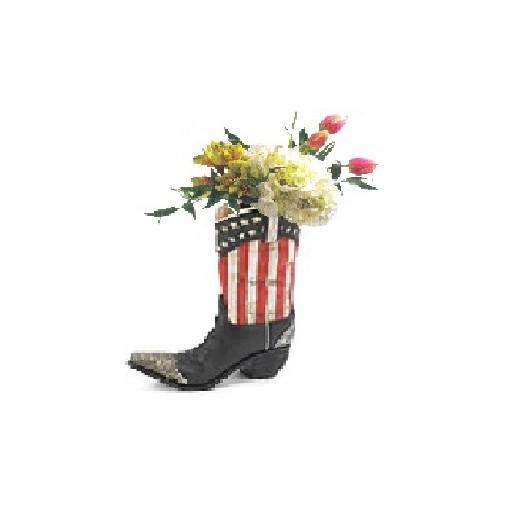 """Our """"Patriot Guy"""" Cowboy Boot Bouquet"""