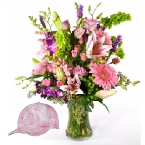 "Our ""Bad Hair Day"" Vase Bouquet *** With Fabric Hat"
