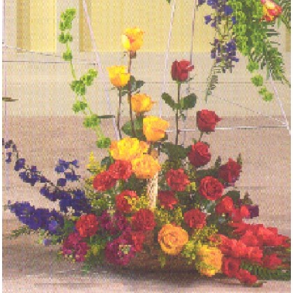 Colorful Fireside Funeral Arrangement