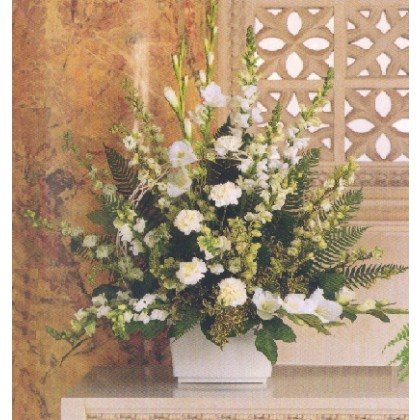 Large White Funeral Basket