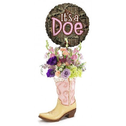 """It's a Doe"" Cowboy Boot Bouquet"