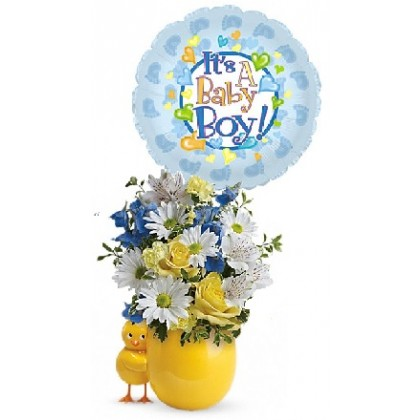 Baby Chick-a-HE Bouquet with Balloon