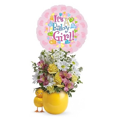 Baby Chick-a-SHE Bouquet with Balloon