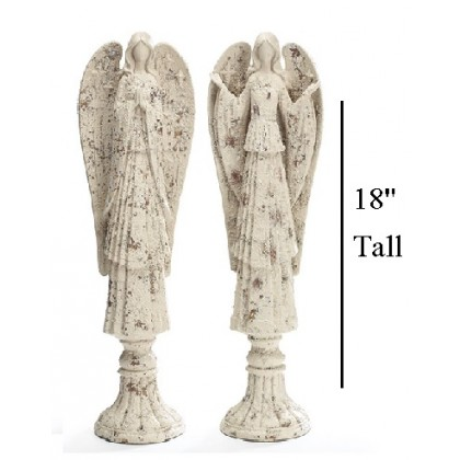 DISTRESSED IVORY ANGEL FIGURINE