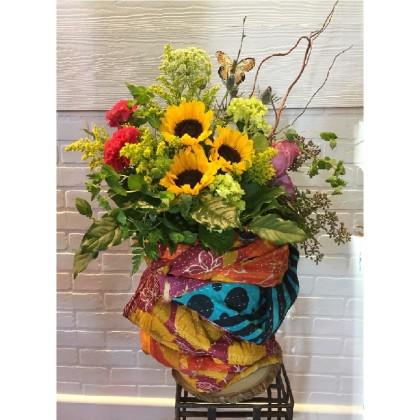 Amazing Fresh Vase Arrangement  AND  Kantha Throw