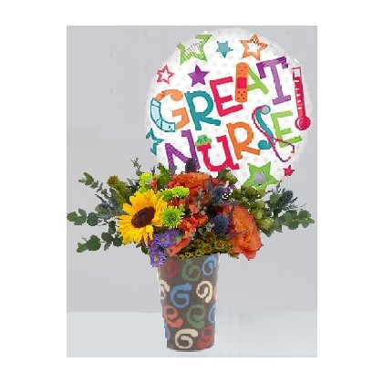 "Our ""Great Nurse"" Bouquet with Mylar Balloon"