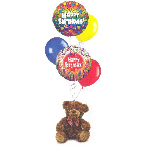 Birthday Balloon Bouquet with Plush Teddy Bear