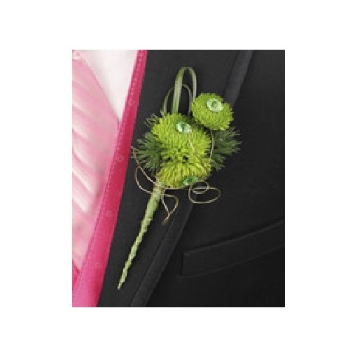 Boutonniere Green Gem Mums Prom Homecoming Decor