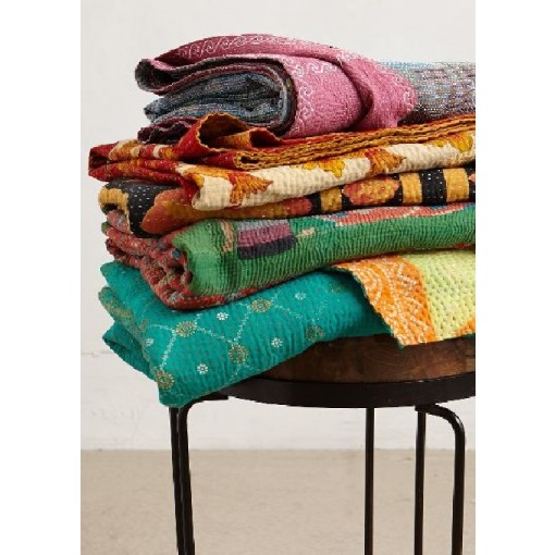 FloraDora # 8 - A One-of-A-Kind Kantha Throw Blanket from India