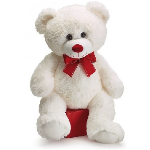 Plush White Valentine Bear