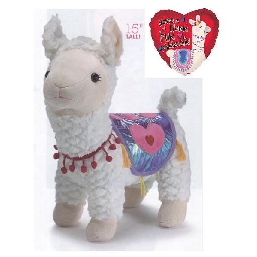 """""""Llama Love"""" Standing Llama Plush"""