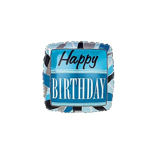 Blue Happy Birthday Mylar Balloon