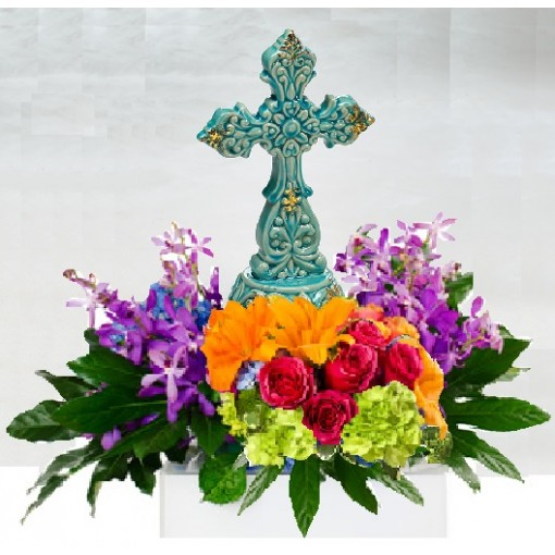 Teal Keepsake Cross with Colored Florals