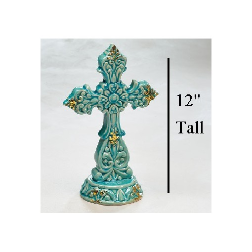DECOR TEAL CROSS WITH GOLD ACCENTS