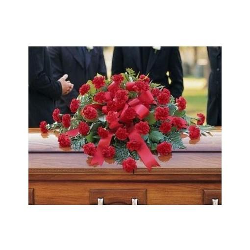 Red Carnation Casket Cover