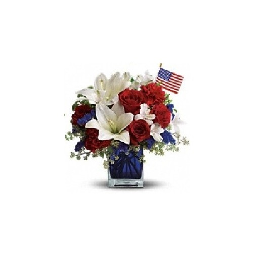 "Our ""American Pride"" Glass Cube Vase"
