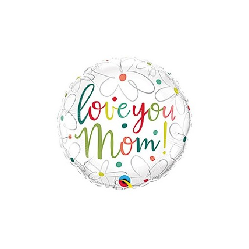 """Love You Mom"" Mylar Balloon"