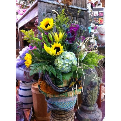 Amazing Fresh Vase Arrangement Wrapped in a Kantha Throw