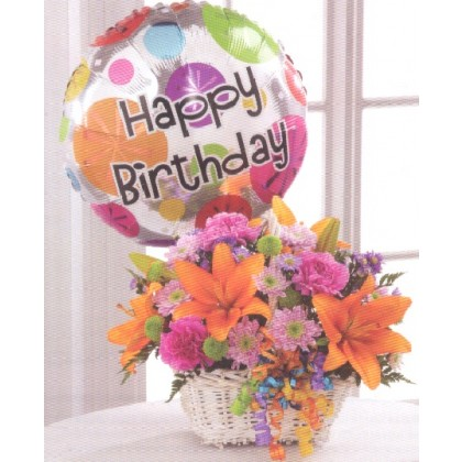 """Birthday Blooms and Balloon Wishes"" Bouquet"