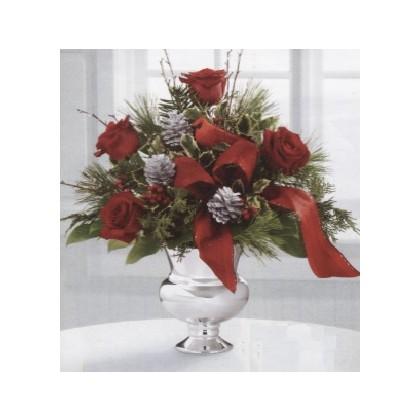 """""""A Silver Tidings"""" Rose Bouquet"""