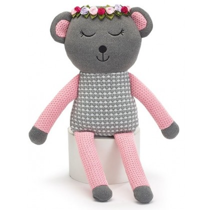 ADD:  DECOR PLUSH GRAY AND PINK KNIT BEAR