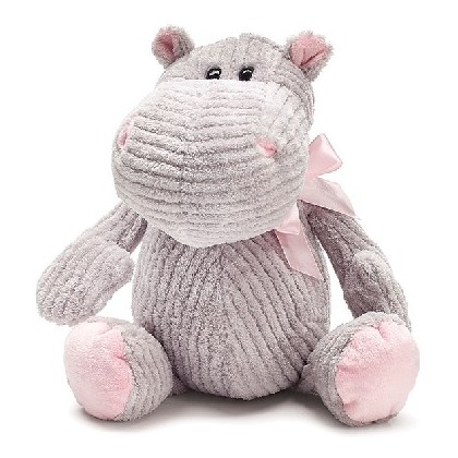 PLUSH GRAY CORDUROY HIPPO