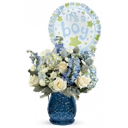 """Our """"Blue Blossom"""" Baby Boy Bouquet"""