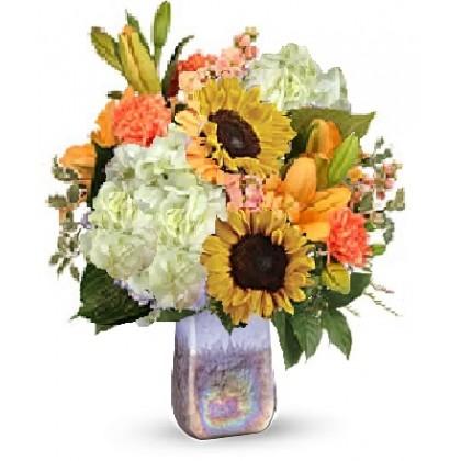 """Our """"Florida Sunrise Art Glass"""" Bouquet"""